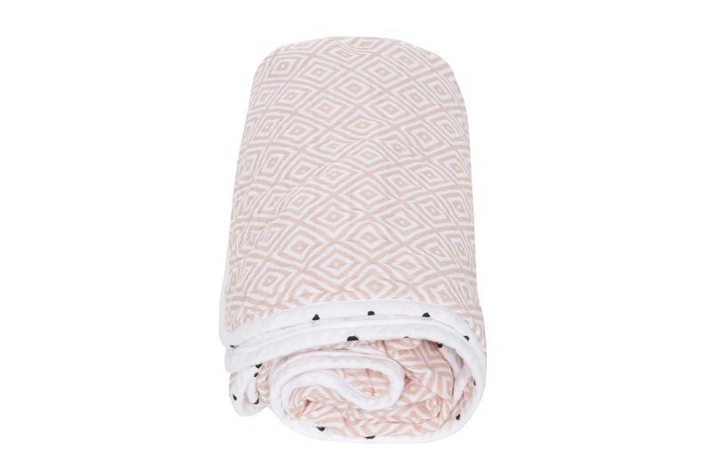 MOTHERHOOD Deka bavlnená mušelínová dvojvrstvová Pre-Washed Pink Squares 95x110 cm