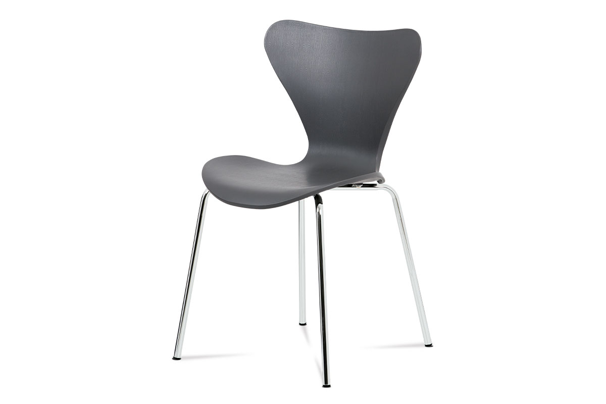 AUTRONIC AURORA GREY jedálenská stolička šedá, chróm
