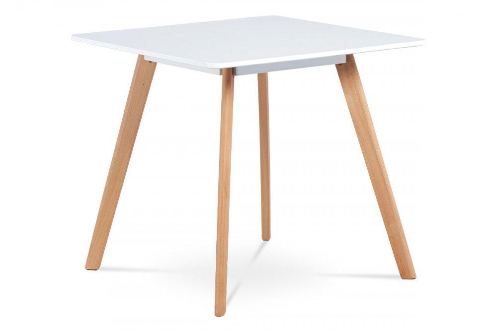 AUTRONIC DT-606 WT jedálenský stôl,80x80 cm, biela matná MDF, masiv buk