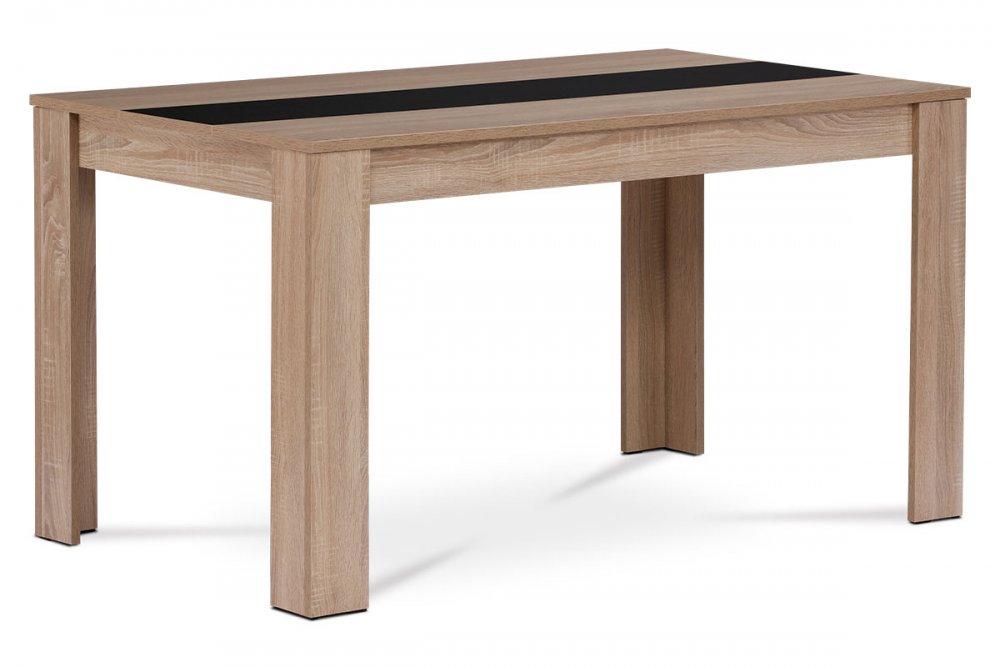 AUTRONIC DT-P140 SON Jedálenský stôl 136x80x74 cm, MDF, lamino 3D dekor dub sonoma, dekorativny pruh v ciernej a bielej farbe