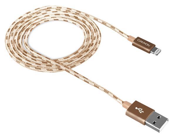 Canyon CNE-CFI3GO, 1m kábel Lightning/USB, bez Apple certifikácie MFi, opletený, zlatý