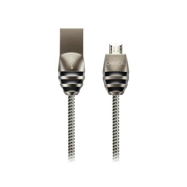 Canyon CNS-USBM5DG, 1m kábel micro-USB / USB 2.0, 5V/2A, priemer 3,5mm, metalicky opletený, tmavo-šedý
