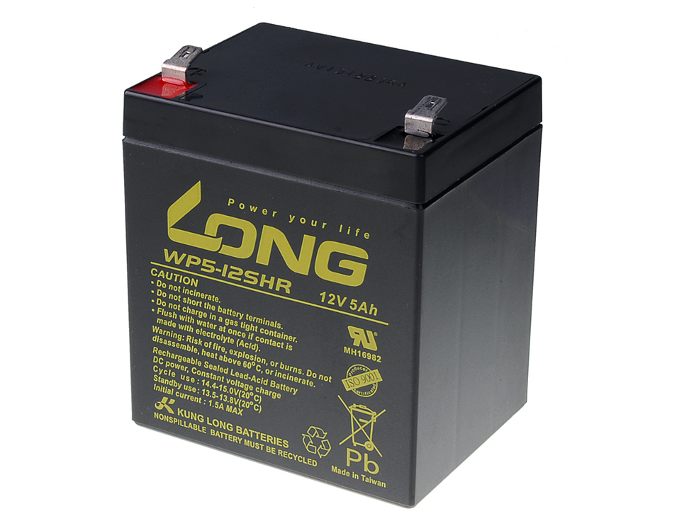 Long 12V 5Ah olověný akumulátor HighRate F2