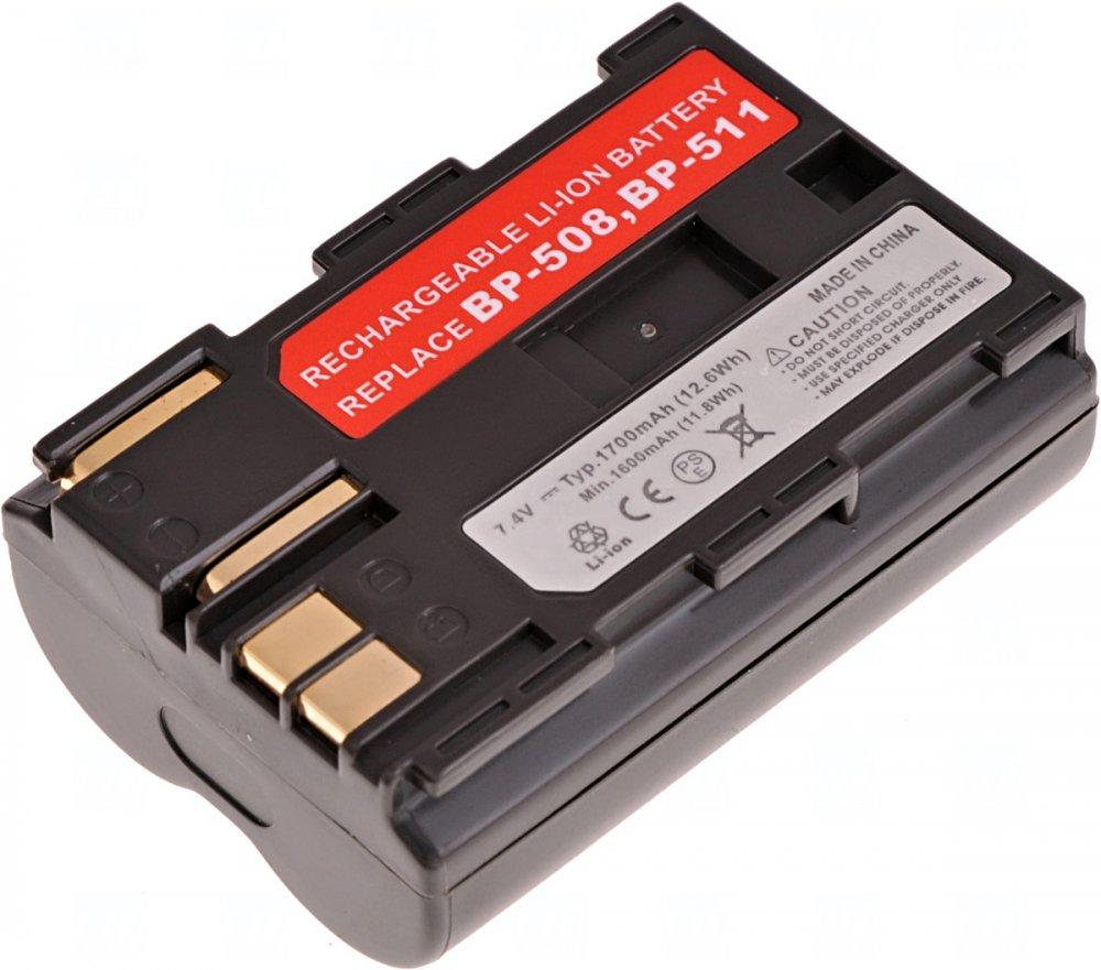 Baterie T6 power Canon BP-508, BP-511, BP-511A, BP-512, BP-514, 1700mAh, hnědá