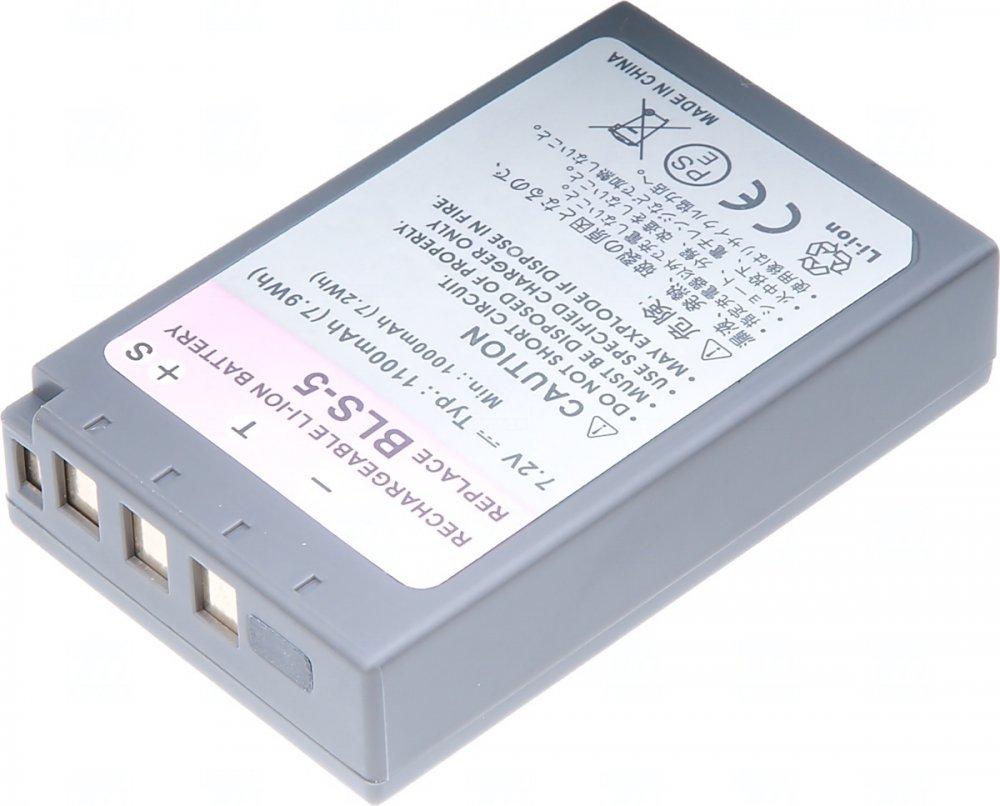 Baterie T6 power Olympus BLS-5, 1100mAh, černá