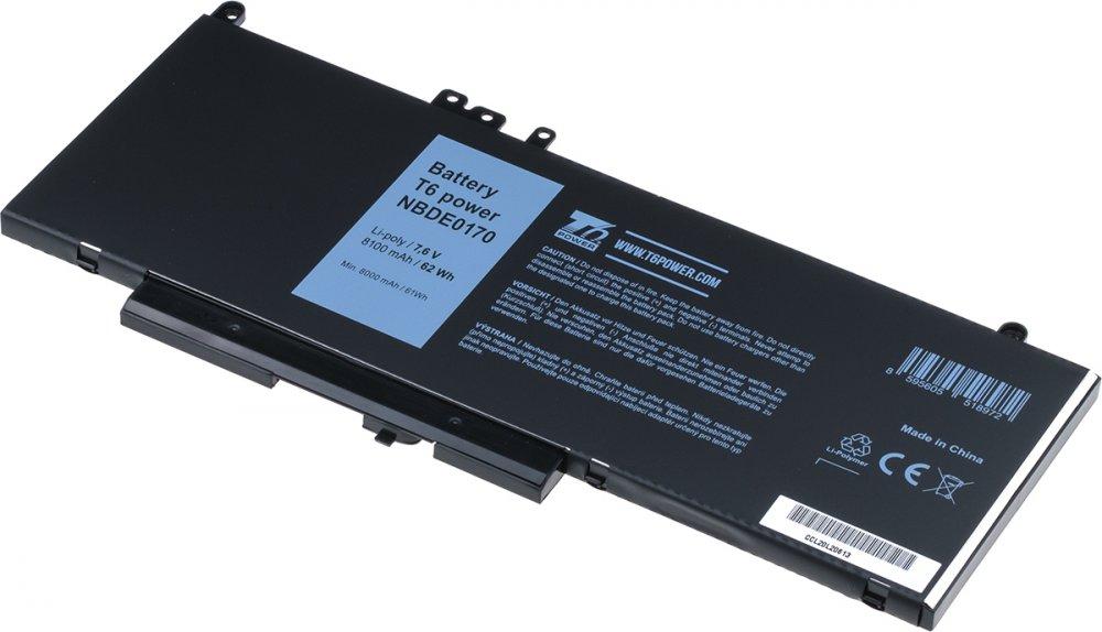 Baterie T6 power Dell Latitude E5270, E5470, E5570, Precision 15 3510, 8100mAh, 62Wh, 4cell, Li-pol