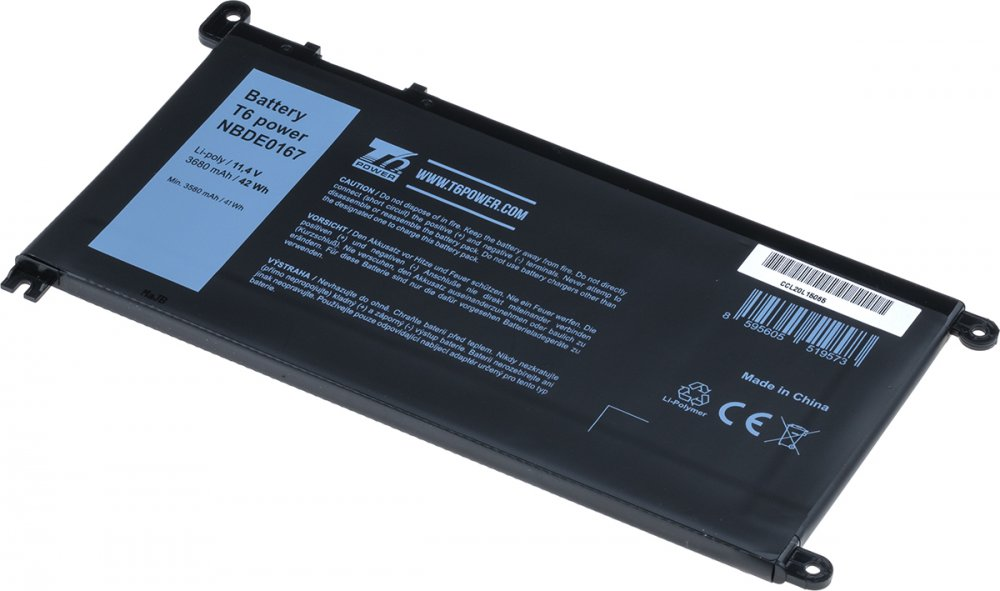 Baterie T6 power Dell Insprion 15 5568, 5578, Vostro 14 5468, 15 5568, 3680mAh, 42Wh, 3cell, Li-pol