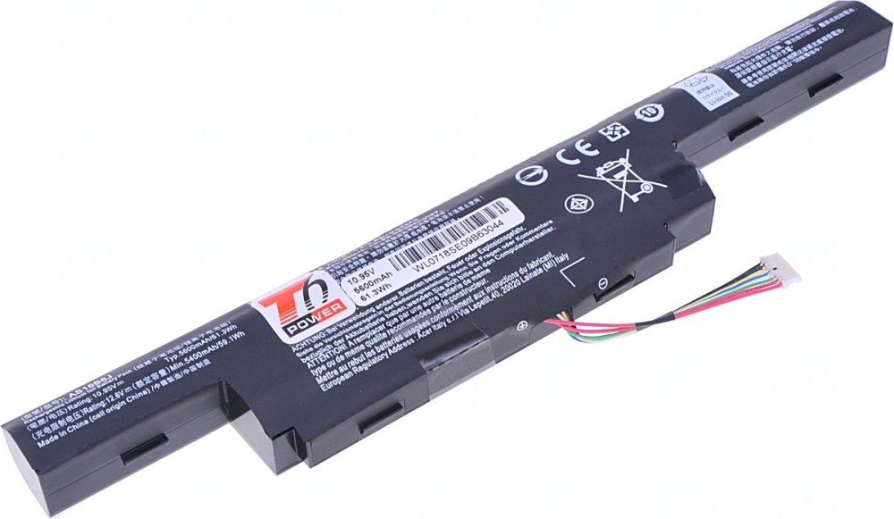 Baterie T6 power Acer Aspire E5-575, E5-774, F5-573, TravelMate P256-G2, 5200mAh, 56Wh, 6cell