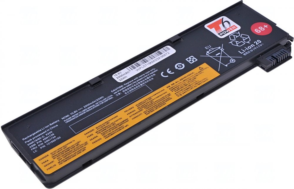 Baterie T6 power Lenovo ThinkPad T440s, T450s, T460p, T470p, T550, P50s, 68, 2000mAh, 22Wh, 3cell