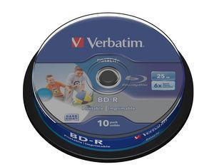 VERBATIM BD-R SL (6x, 25GB),printable, 10 cake