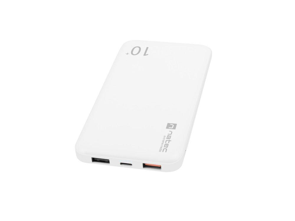 Natec Trevi Pro Power banka 10 000mAh Quick Charge 3.0, bílá, 1x Type-C, 2x USB