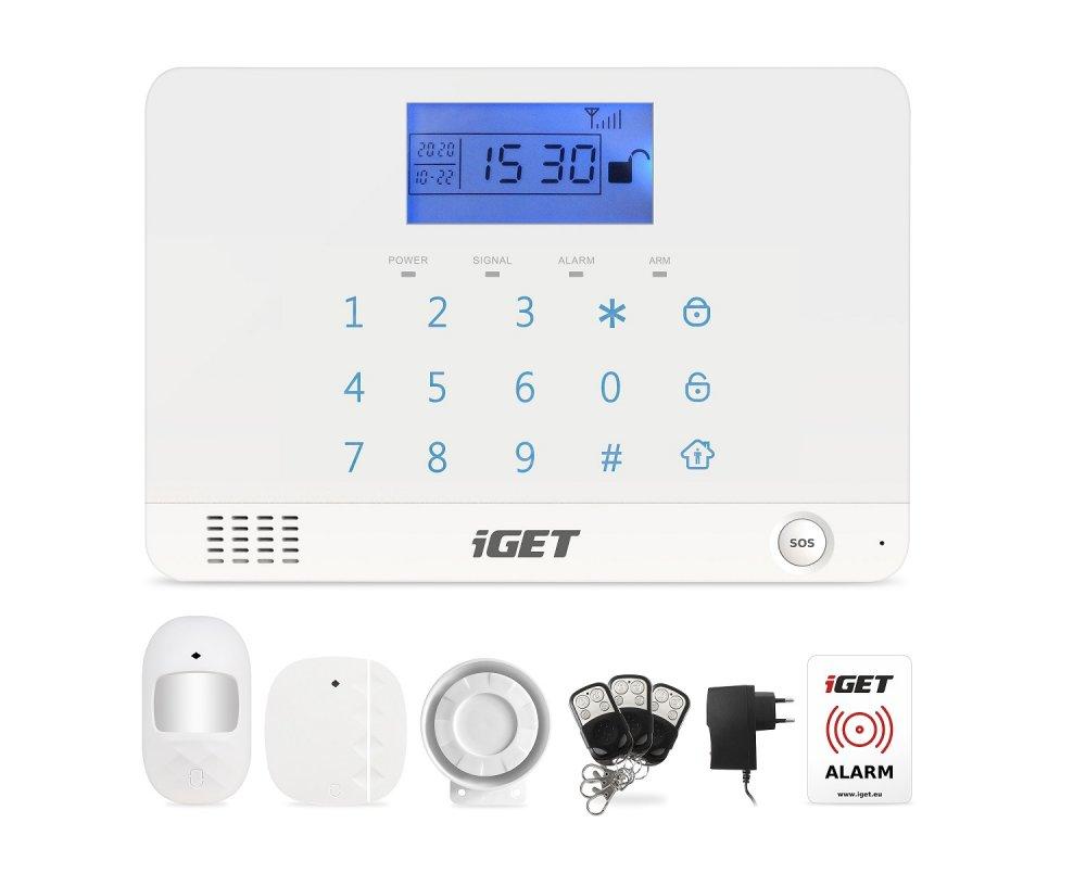 iGET SECURITY M3B - bezdrátový GSM alarm CZ, zasílá SMS/telefonuje,záložní baterie 8 hod,aplikace CZ