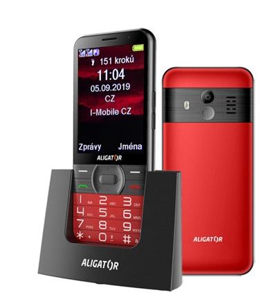 ALIGATOR A900 Senior červený + stolní nabíječka