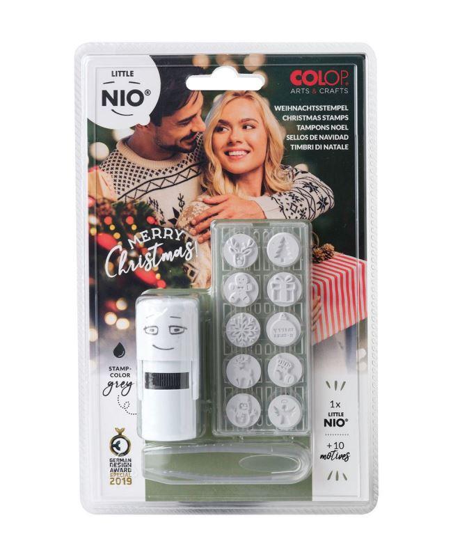 COLOP Little NIO Christmas (10 ks motivů+razítko+polštářek šedé barvy)