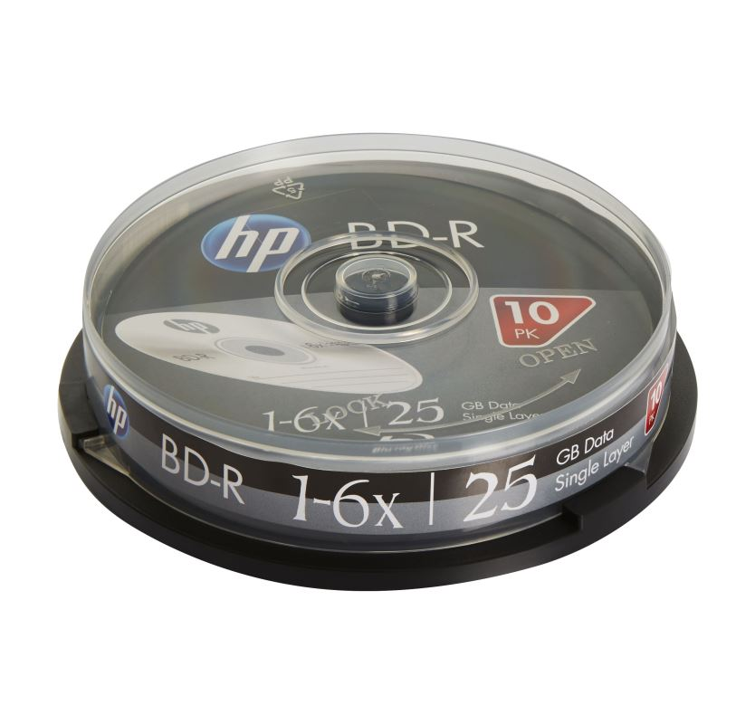 Blu-ray BD-R SL HP 25GB 6x 10-cake