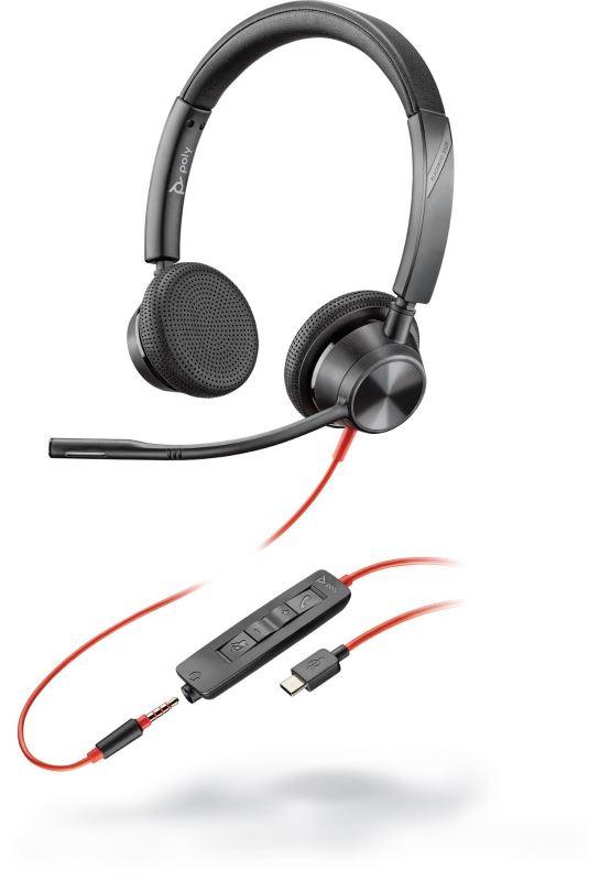 Poly BLACKWIRE 3325, náhlavní souprava na obě uši se sponou, USB-C + 3,5mm