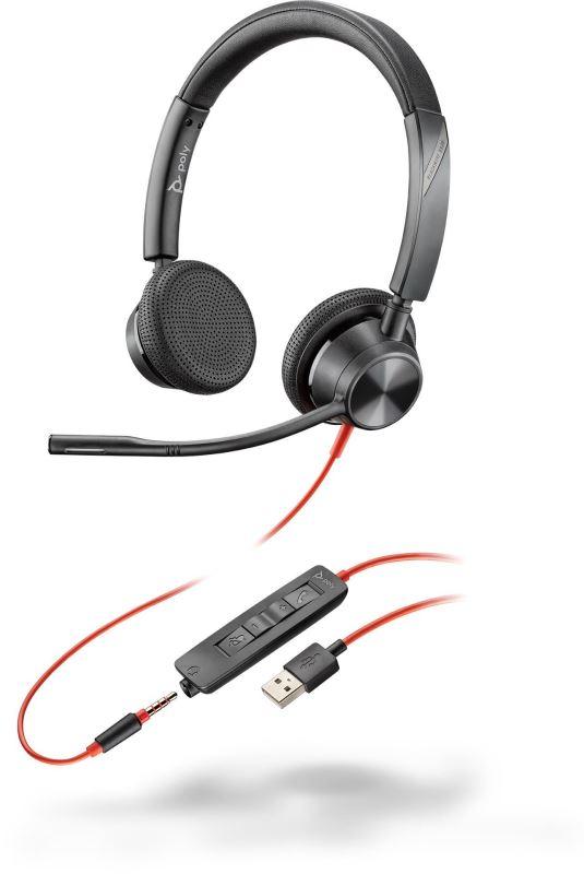 Poly BLACKWIRE 3325 Microsoft, náhlavní souprava na obě uši se sponou, USB-A + 3,5mm