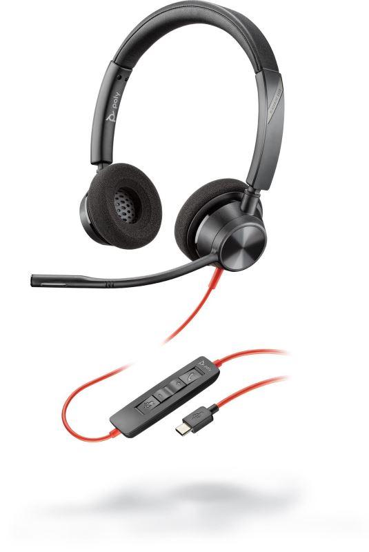Poly BLACKWIRE 3320, náhlavní souprava na obě uši se sponou, C3320, USB-C konektor