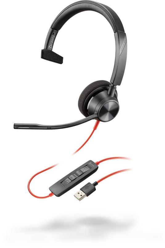 Poly BLACKWIRE 3310, náhlavní souprava na jedno ucho se sponou, C3310, USB-A konektor