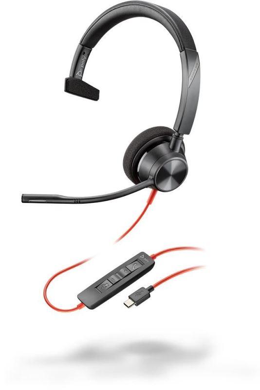 Poly BLACKWIRE 3310, náhlavní souprava na jedno ucho se sponou, C3310, USB-C konektor