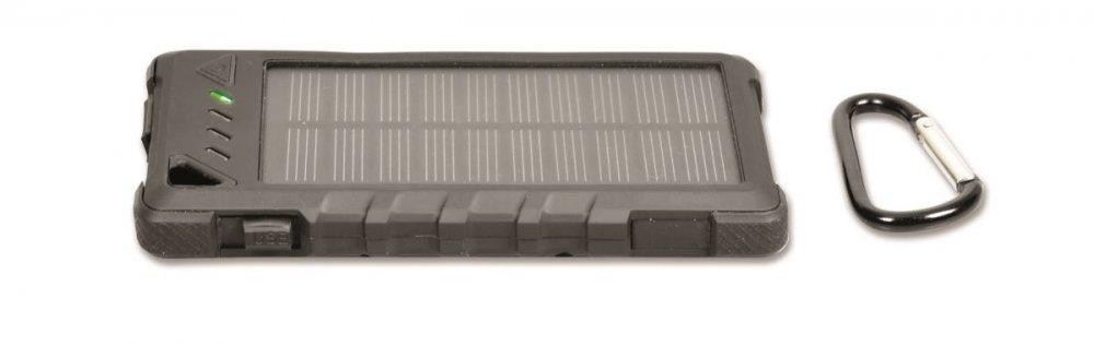 PORT CONNECT solární nabíječka 2 USB, (2,1 +1A) + Power Bank 8000mAh, černá