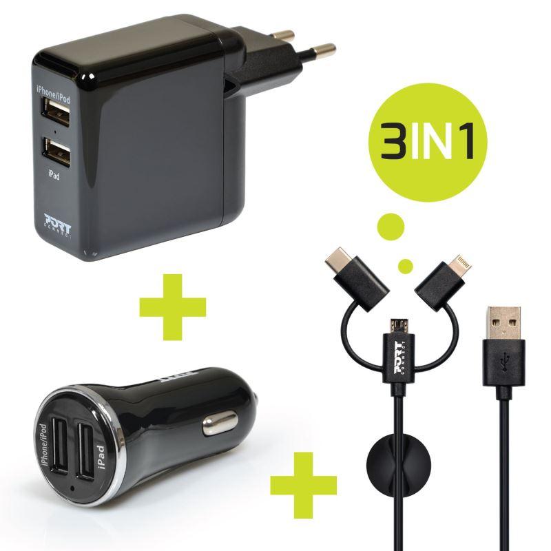 PORT CONNECT nabíječka 2x USB, nabíječka do auta 2xUSB + 3v1 kabel, černá