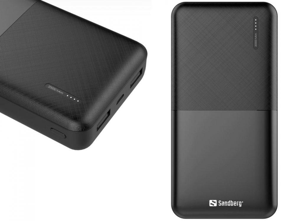 Sandberg Saver Powerbank 20000 mAh, 2x USB-A, černý