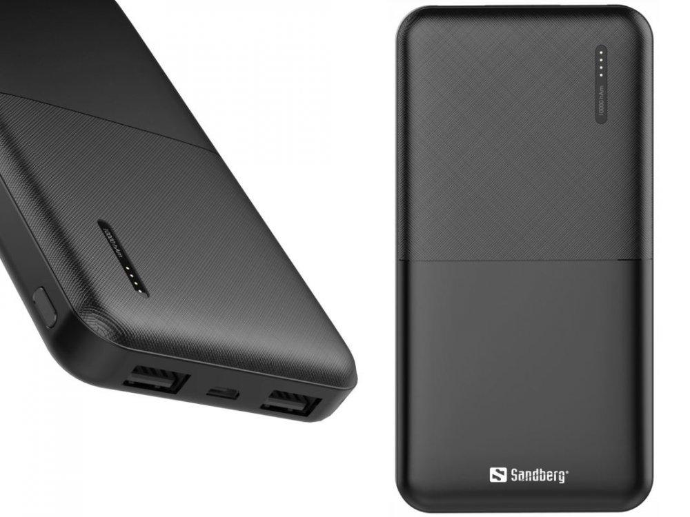 Sandberg Saver Powerbank 10000 mAh, 2x USB-A, černý