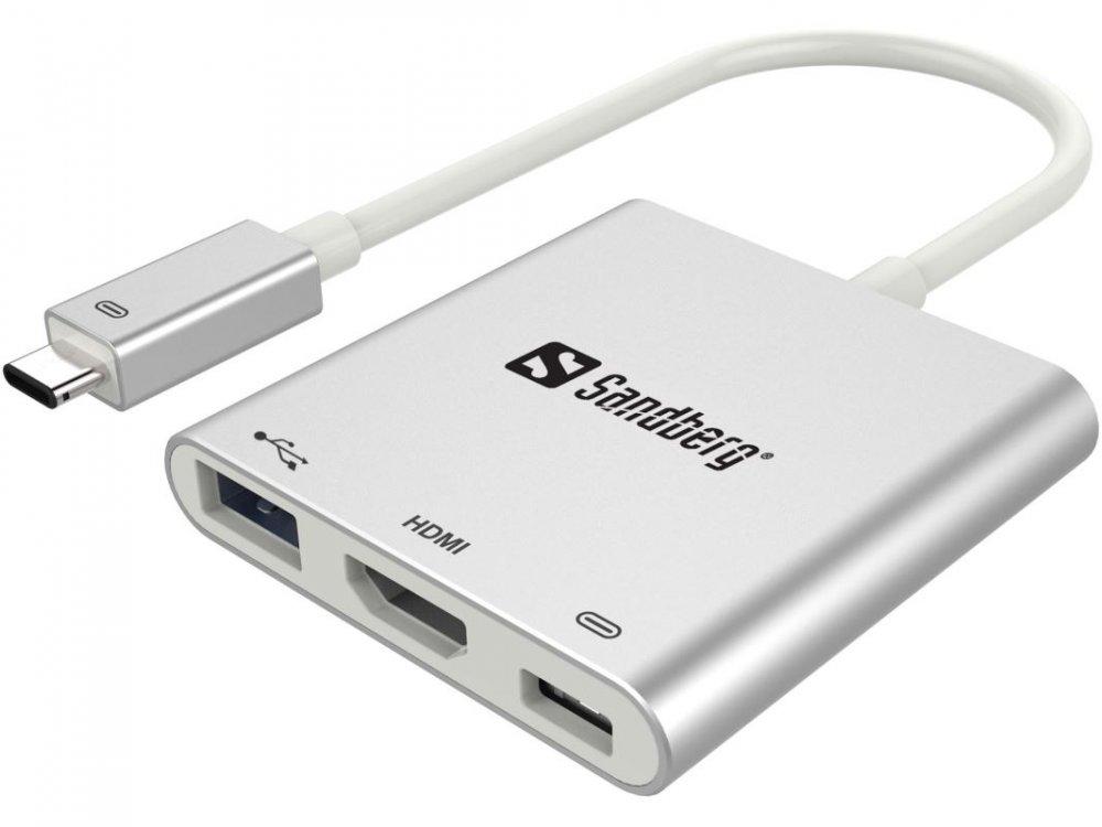 Sandberg Mini USB-C HUB, HDMI+USB, stříbrný