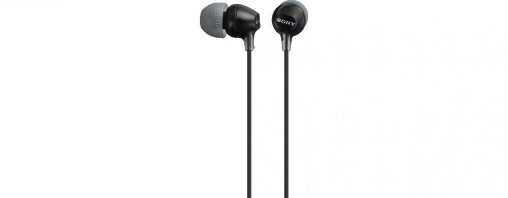 Sony MDREX15AP, černá sluchátka do uší řady EX s ovladačem na kabelu