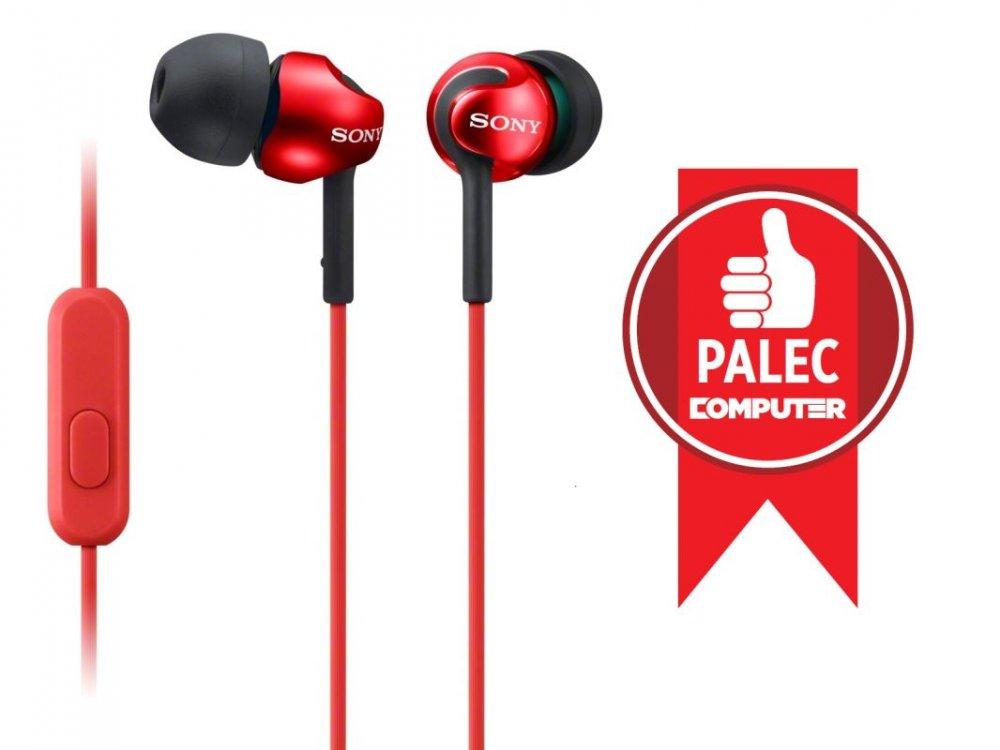 Sony MDREX110AP, červená klapková sluchátka řady EX s ovladačem na kabelu