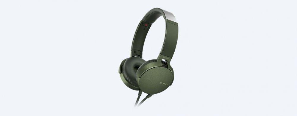 Sony MDRXB550AP, náhlavní sluchátka EXTRA BASS s ovladačem na kabelu, zelená