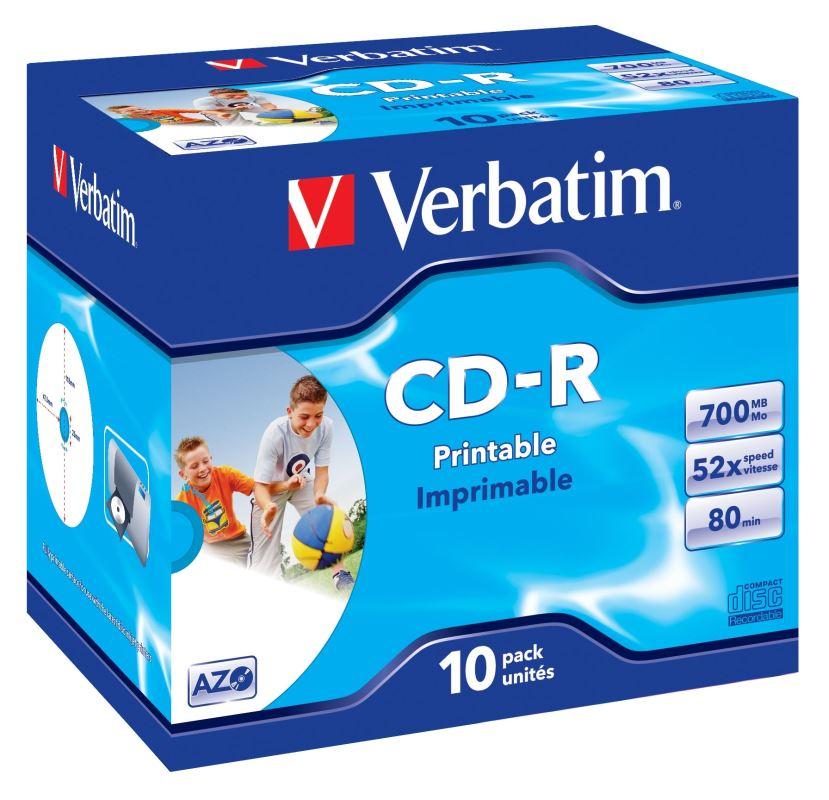 CD-R Verbatim DLP 700MB (80min) 52x Printable jewel box, 10ks/pack
