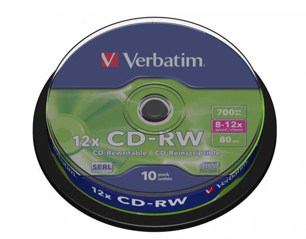 CD-RW Verbatim 80 min. 8-12x 10-cake