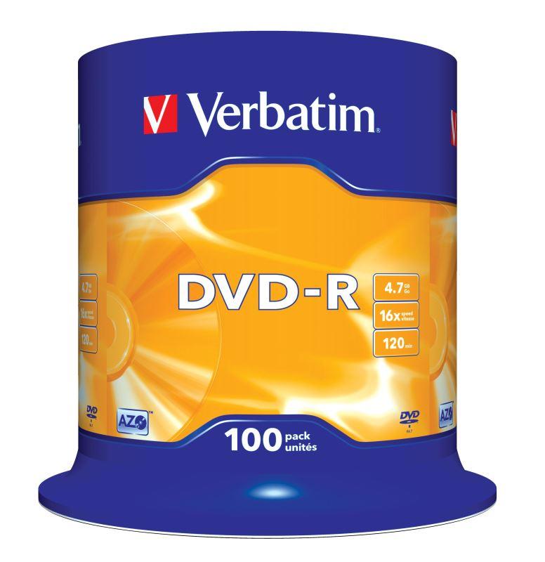 DVD-R Verbatim 4,7 GB (120min) 16x 100-cake
