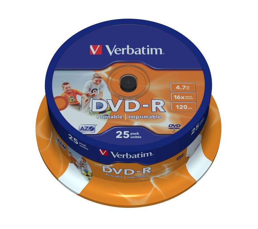 DVD-R Verbatim 4,7 GB (120min) 16x WIDE Printable 25-cake