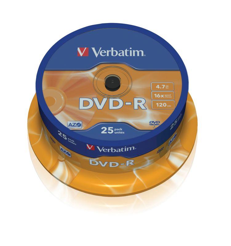 DVD-R Verbatim 4,7 GB (120min) 16x 25-cake