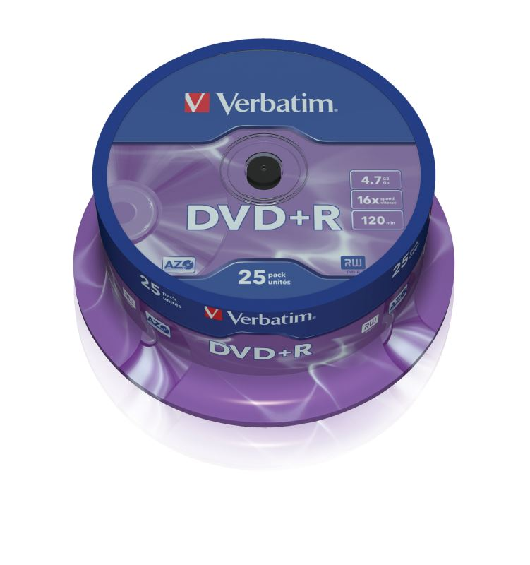 DVD+R Verbatim 4,7 GB (120min) 16x 25-cake