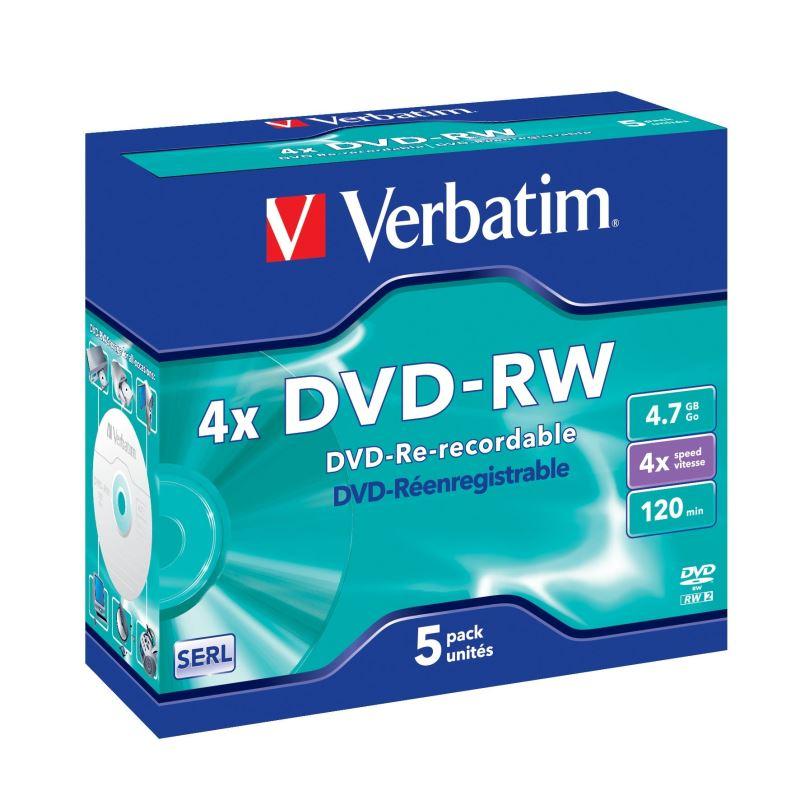 DVD-RW Verbatim 4,7GB 4x, jewel box, 5ks/pack