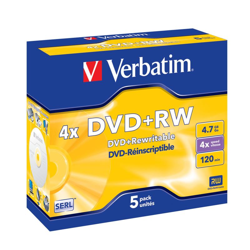 DVD+RW Verbatim 4,7GB 4x jewelbox, 5ks/pack