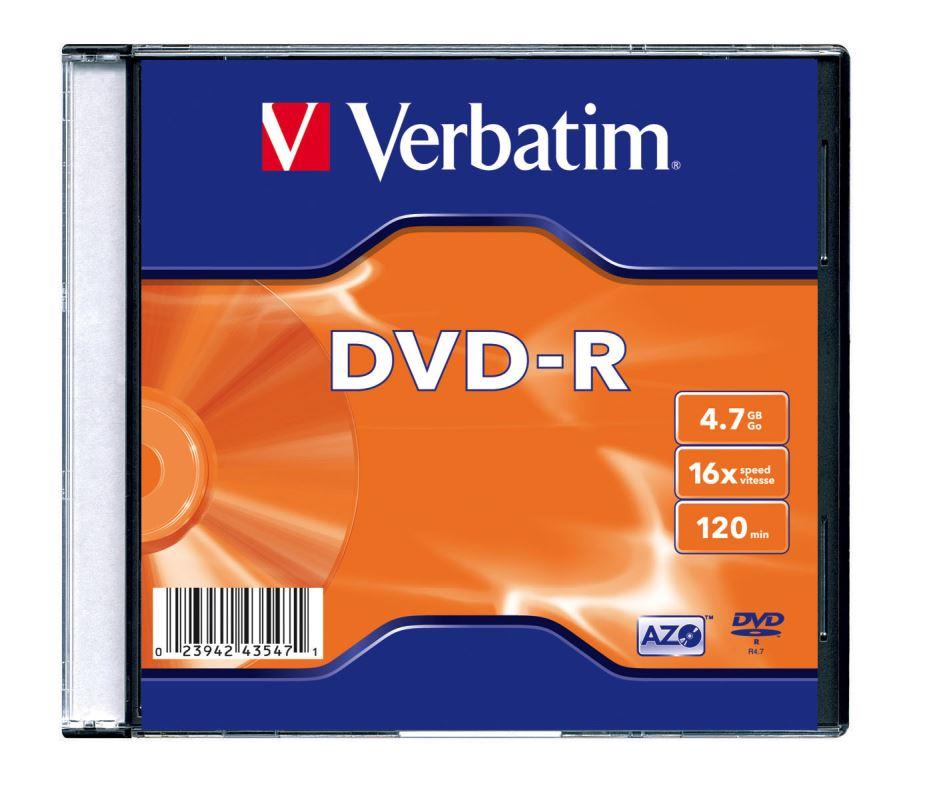 DVD-R Verbatim 4,7 GB (120min) 16x Silver slim box, 20ks/pack