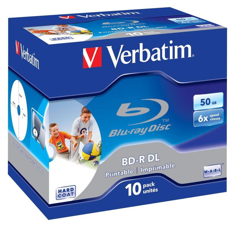 Blu-ray BD-R DL Verbatim 50GB 6x Printable jewel box 10ks/pack