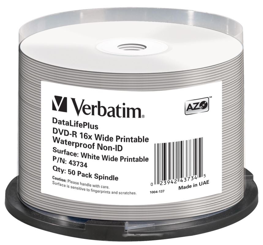 DVD-R Verbatim 4,7 GB (120min) 16x Wide Glossy Printable Waterproof 50-cake NON-ID
