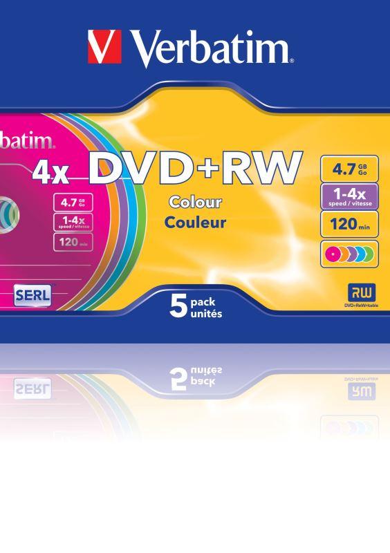 DVD+RW Verbatim 4,7GB 4x colour slimbox, 5ks/pack