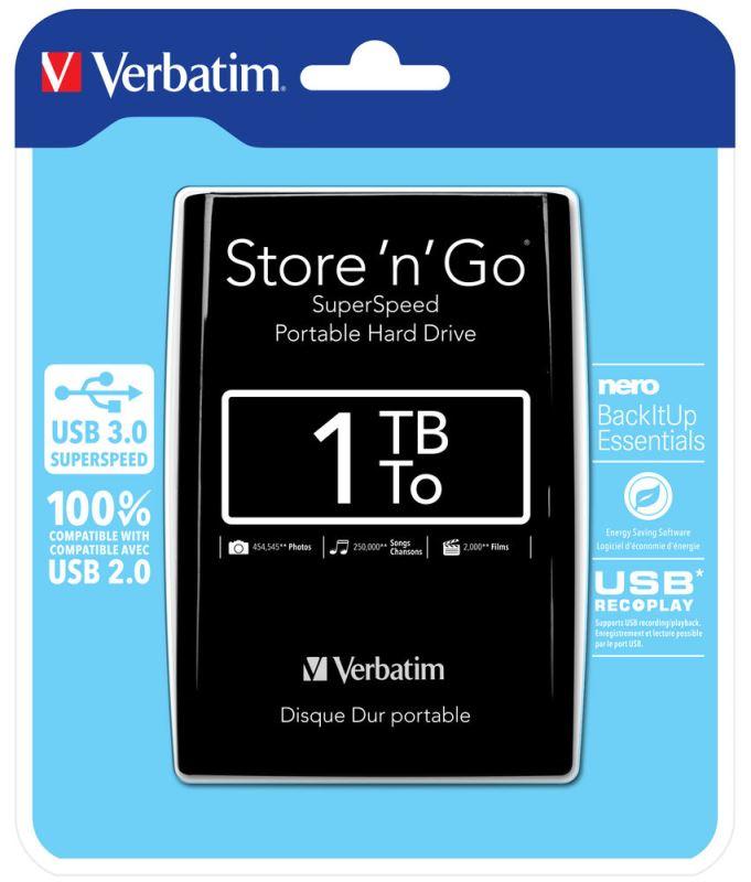 """HDD 2.5"""" 1TB USB 3.0 černý, Green Button, externí harddisk Store 'n' Go Verbatim"""
