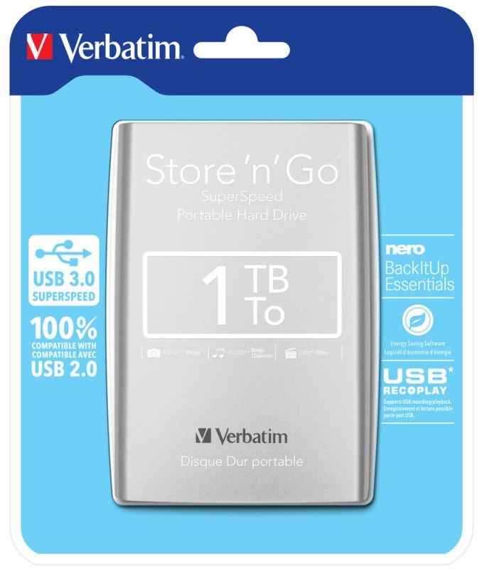 """HDD 2.5"""" 1TB USB 3.0 stříbrný , Green Button, externí harddisk Store 'n' Go Verbatim"""