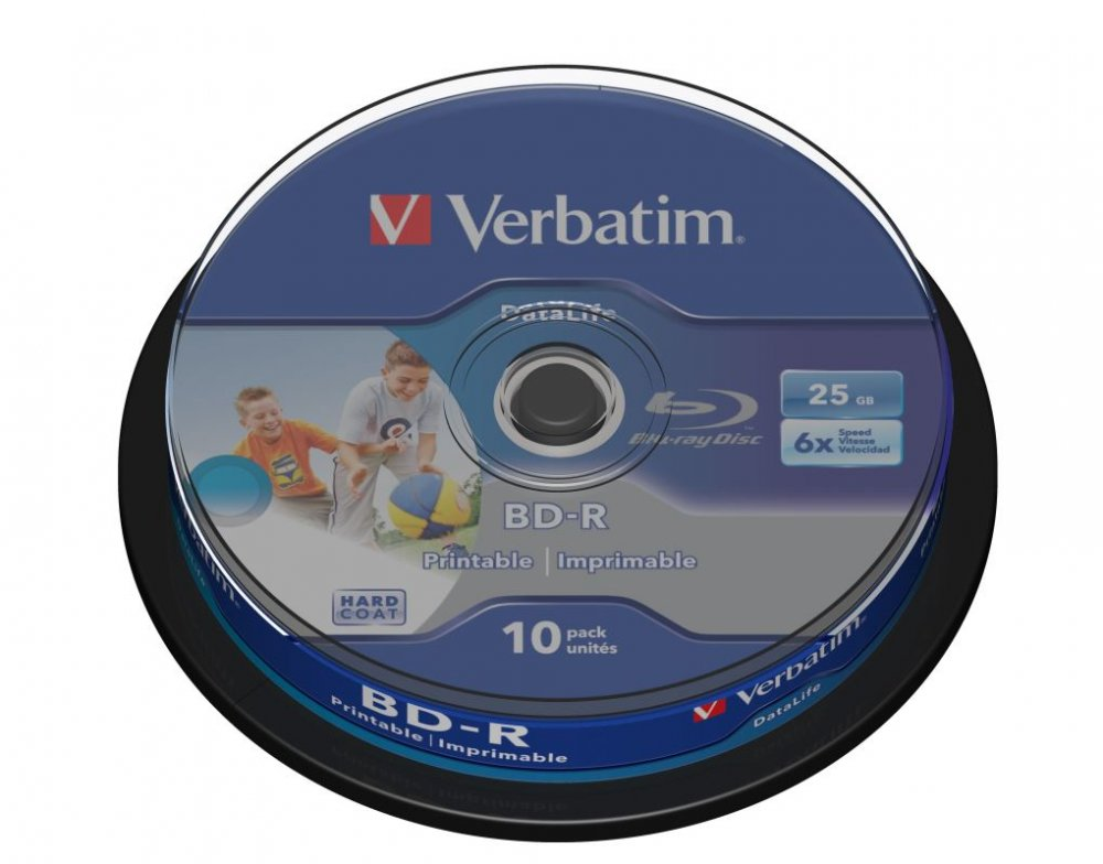 Blu-ray BD-R SL Verbatim Datalife 25GB 6x WIDE Printable 10-cake