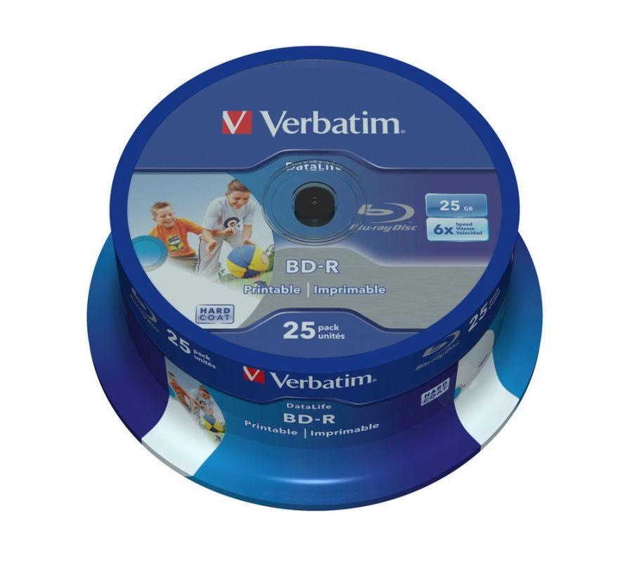 Blu-ray BD-R SL Verbatim Datalife 25GB 6x WIDE Printable 25-cake
