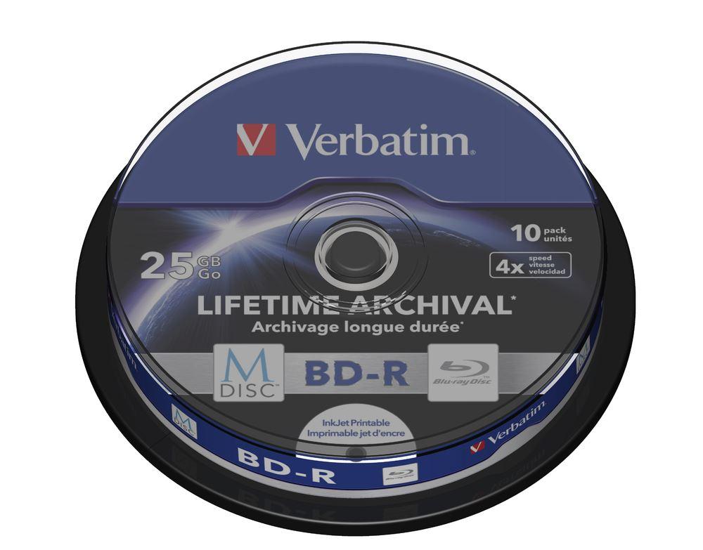 Blu-ray BD-R M-Disc Verbatim 25GB 4x Printable, 10-cake