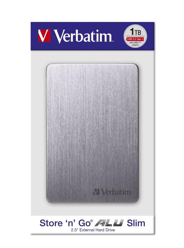 "HDD 2.5"" 1TB USB 3.2/USB-C Gen 1 ALU Slim šedý, externí disk Store 'n' Go Verbatim"